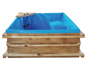 Wooden birth pool for hire large
